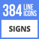 Free Download 384 Sign FIlled Line Icons Nulled