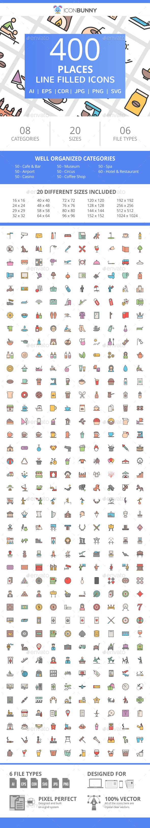 400 Places Filled Line Icons - Icons