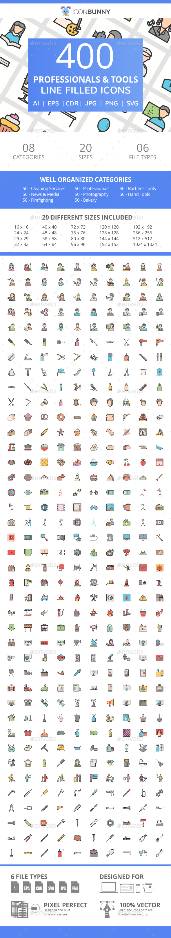 400 Professionals & their tools Filled Line Icons - Icons