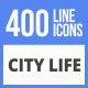 460 City Life Filled Line Icons