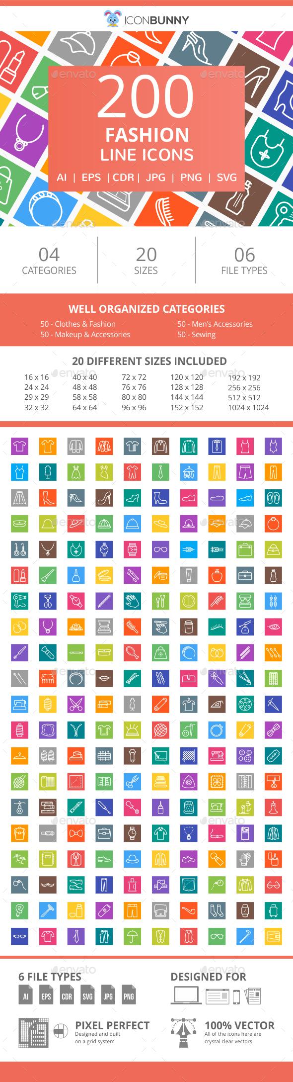 200 Fashion Line Multicolor B/G Icons - Icons