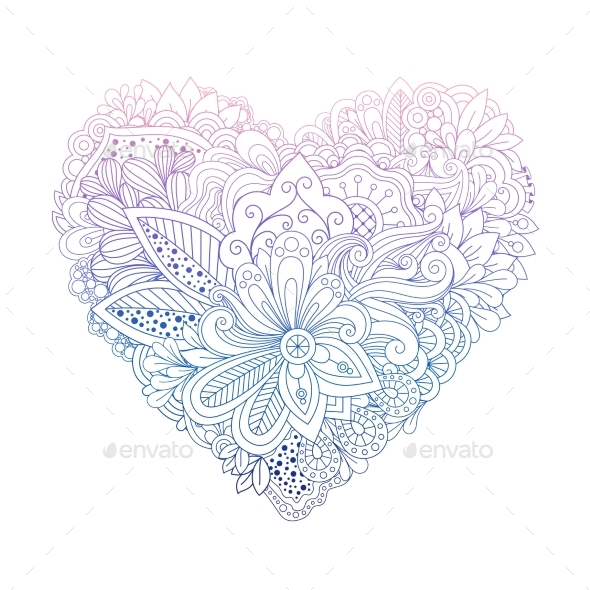 Colorful Floral Doodle Heart Shape on White - Flowers & Plants Nature