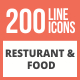 200 Restaurant & Food Line Multicolor B/G Icons