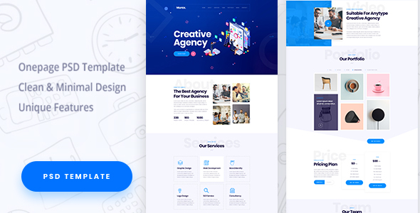 Asfho - One Page Creative Agency PSD Template - Creative PSD Templates