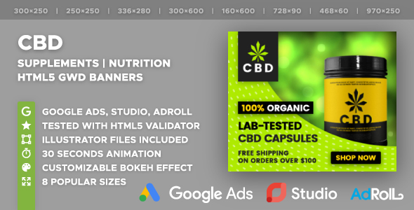 CBD | Nutrition | Supplements HTML5 Banner Ad Templates (GWD) - CodeCanyon Item for Sale