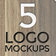5 Logo Mockups on Wooden Tables - GraphicRiver Item for Sale