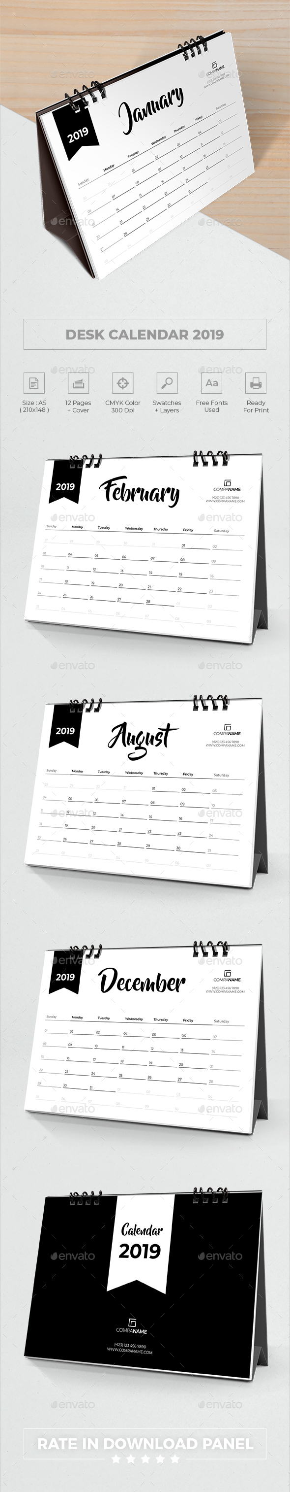 Minimalist Desk Calendar 2019 - Calendars Stationery