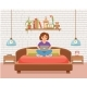 Freelancer Happy Young Woman Working on the Bed - GraphicRiver Item for Sale