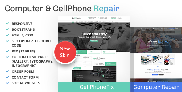 Computer and CellPhone repair services WordPress Theme - Business Corporate