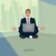 Businessman Hovering in Office in Lotus Pose - GraphicRiver Item for Sale