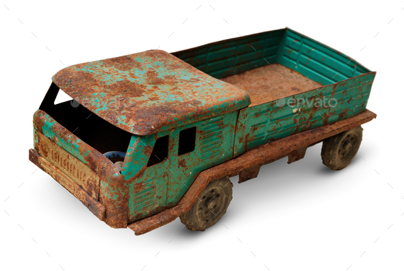 Old tin toy, generic auto truck - Stock Photo - Images
