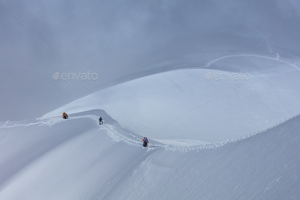 Climbers on the Mont Blanc massif, France - Stock Photo - Images