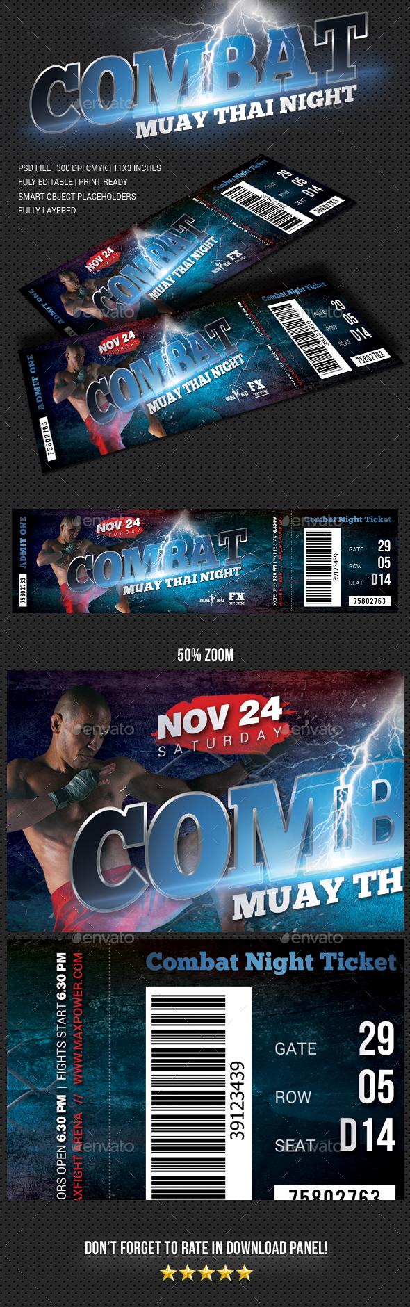 Combat Boxing Muay Thai Ticket - Cards & Invites Print Templates