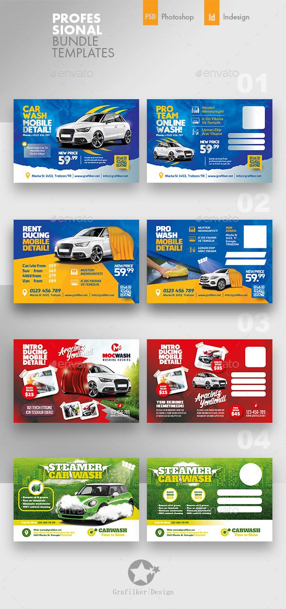 Car Wash Postcard Bundle Templates - Cards & Invites Print Templates