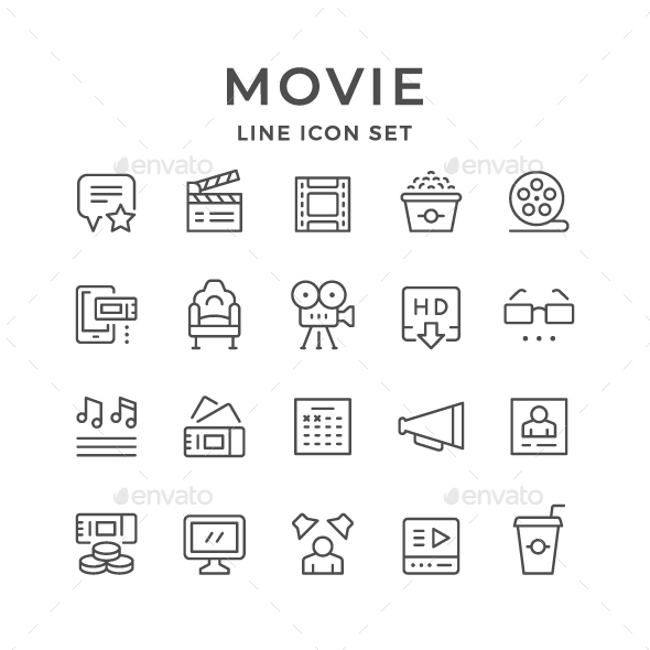 Set Line Icons of Movie - Man-made objects Objects