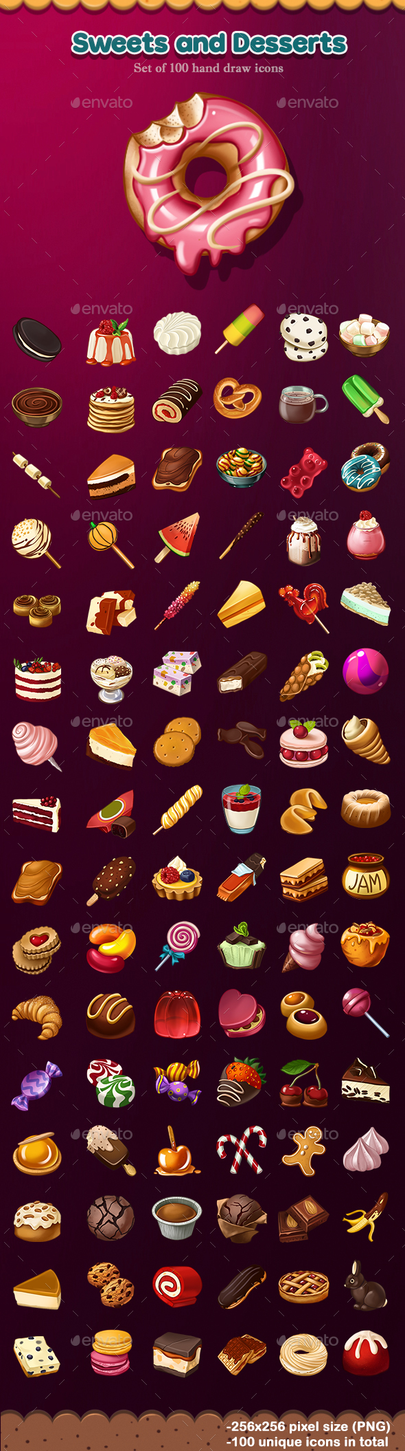 Sweets and Desserts Icons - Miscellaneous Game Assets