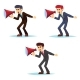 Angry Young Businessman Character Shouting