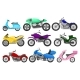 Flat Vector Set of Colorful Motorcycles