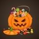 Halloween Candies in Pumpkin Bag