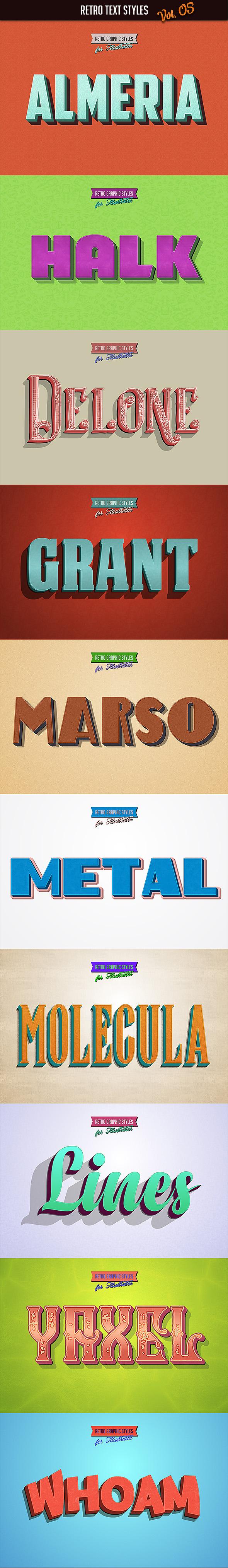 10 Retro Text Styles vol. 05 - Styles Illustrator