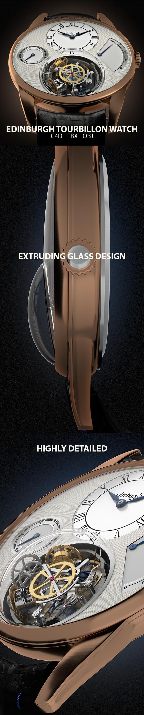 Edinburgh Tourbillon Watch 3D Model - 3DOcean Item for Sale