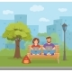 Freelancer Happy Young Woman and Man Working - GraphicRiver Item for Sale