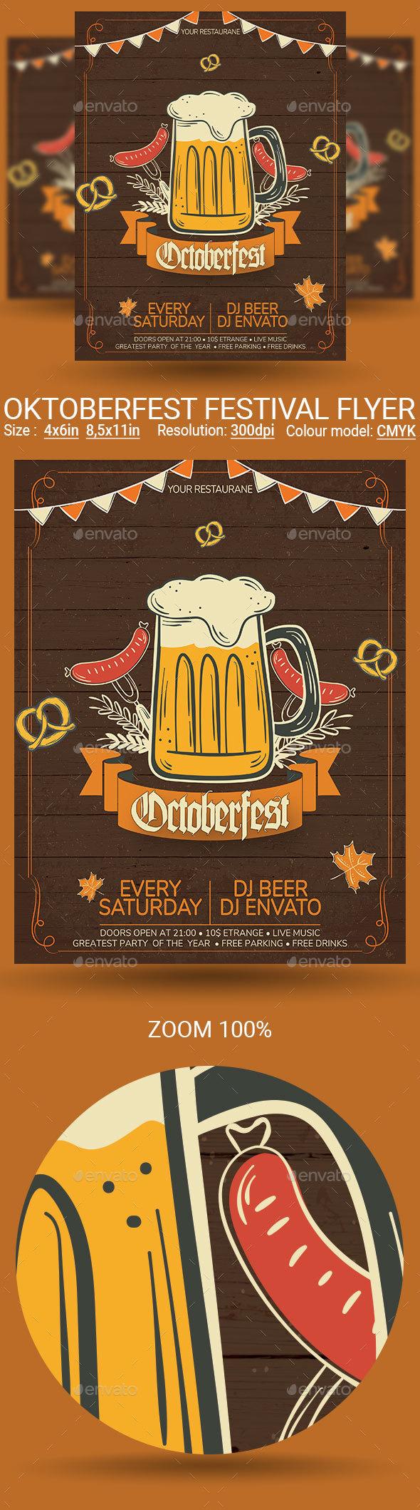 Oktoberfest Festival Party Flyer Poster - Events Flyers