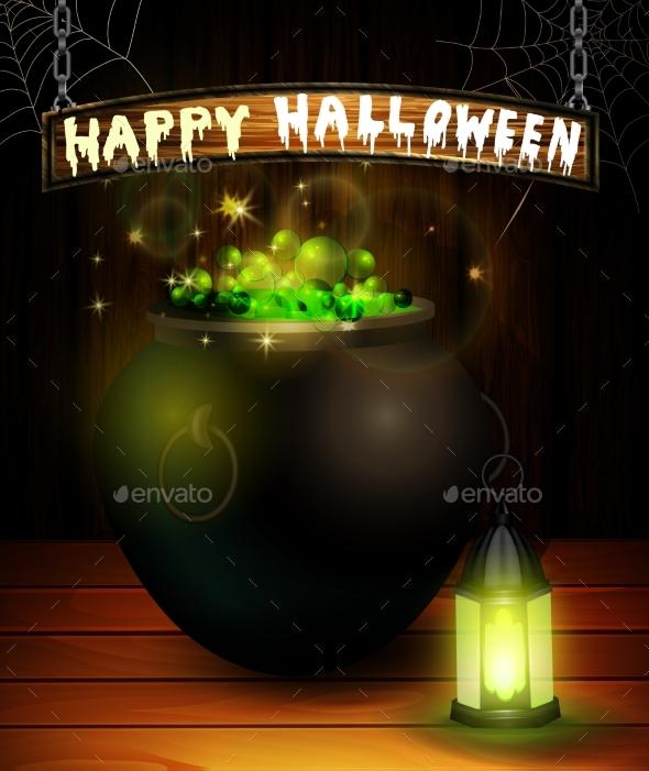 Halloween Pumpkin Realistic with Heat - Miscellaneous Vectors