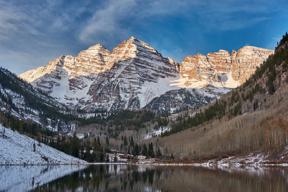 Maroon Bells and Maroon Lake landscape - Stock Photo - Images