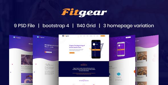 Fitgear – App Landing PSD Template - Creative PSD Templates