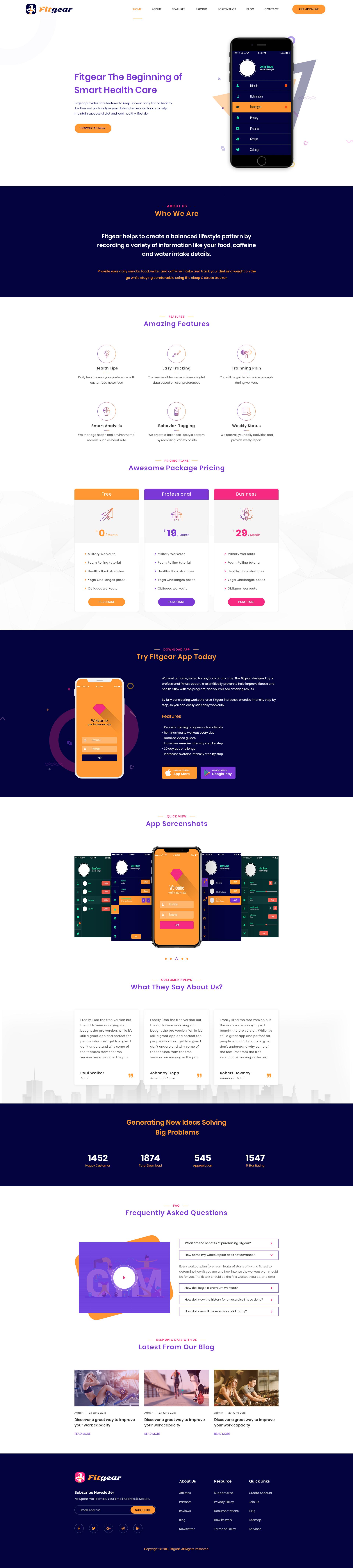 Fitgear – App Landing PSD Template