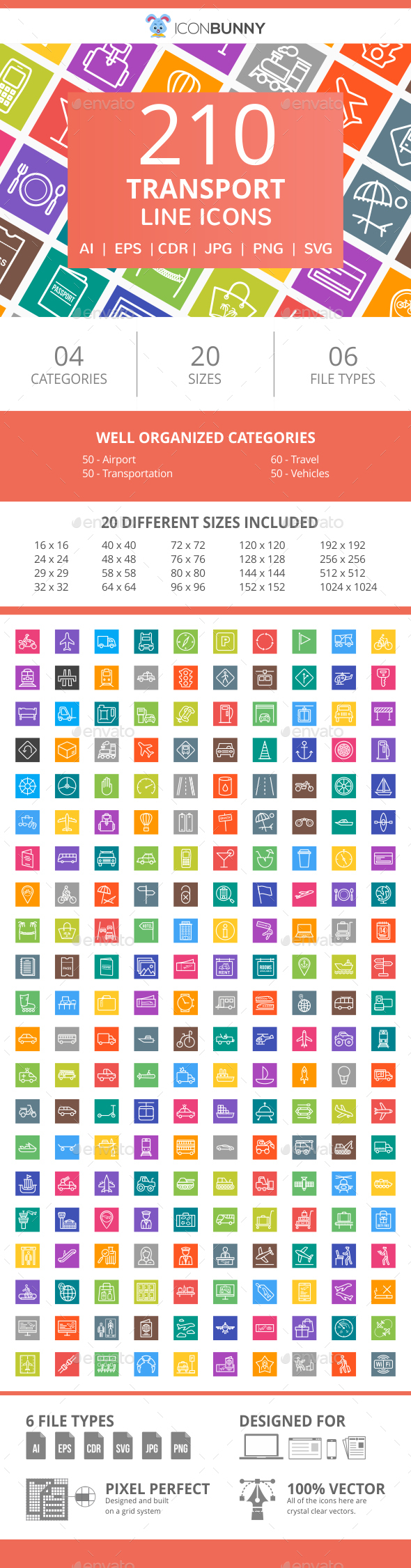 210 Transport Line Multicolor B/G Icons - Icons