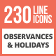 230 Observances & Holiday Line Multicolor B/G Icons - GraphicRiver Item for Sale