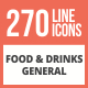 270 Food & Drinks General Line Multicolor B/G Icons - GraphicRiver Item for Sale