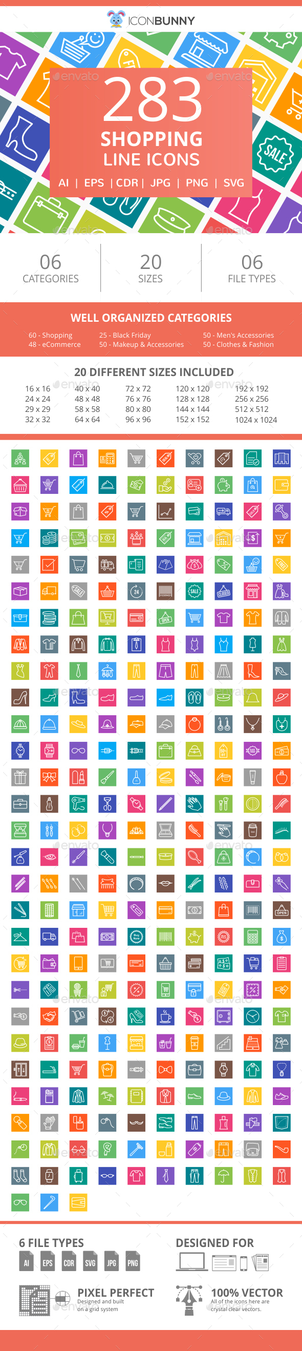 284 Shopping Line Multicolor B/G Icons - Icons