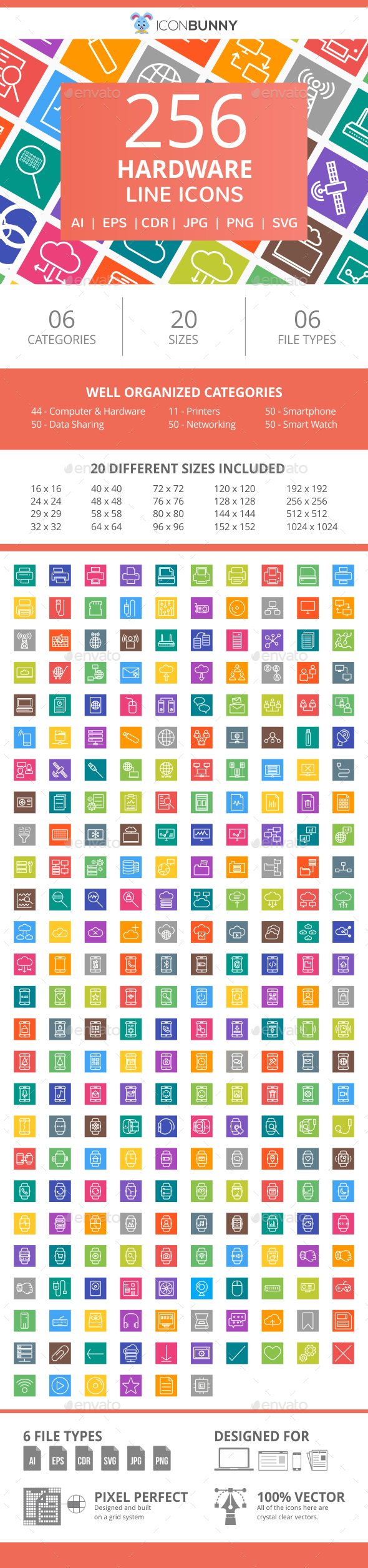 255 Hardware Line Multicolor B/G Icons - Icons