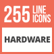 255 Hardware Line Multicolor B/G Icons - GraphicRiver Item for Sale