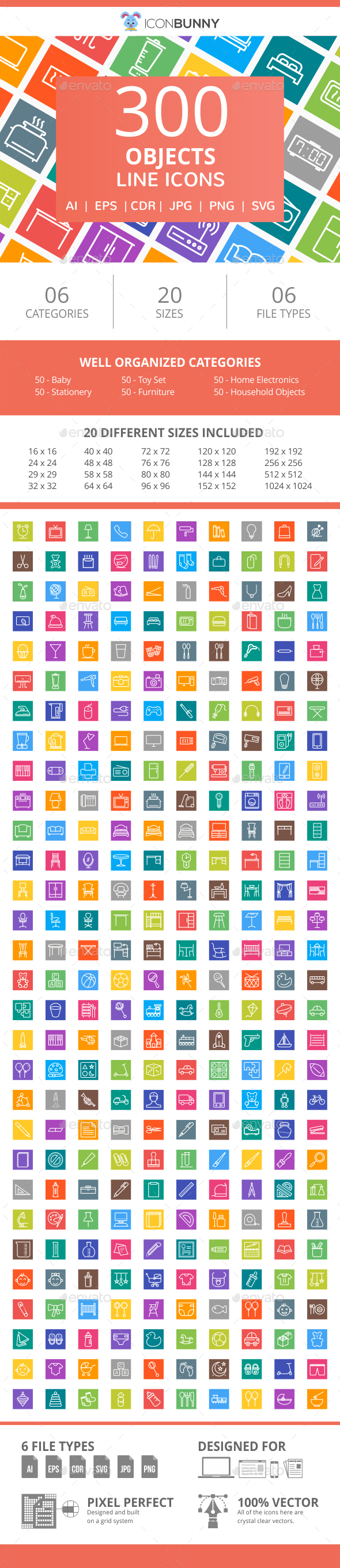 300 Objects Line Multicolor B/G Icons - Icons