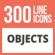300 Objects Line Multicolor B/G Icons