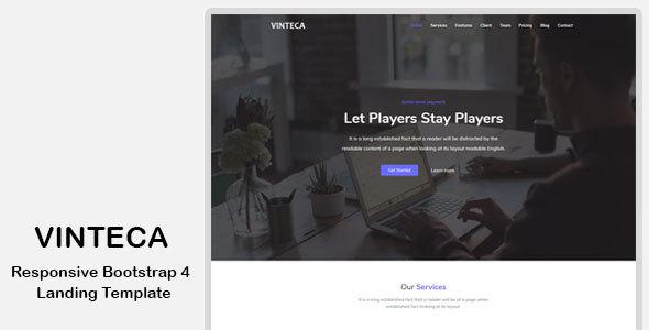 Vinteca – Responsive Bootstrap 4 Landing Template (Marketing) preview
