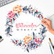 Watercolor Wreath. Pions & Succulent