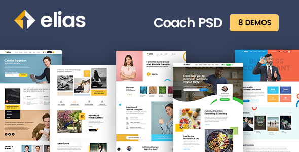 Elisa: Coach PSD template, Yoga Coach, Fitness coach, Motivation coach, Health Coach etc (8 Demos) Free Download | Nulled