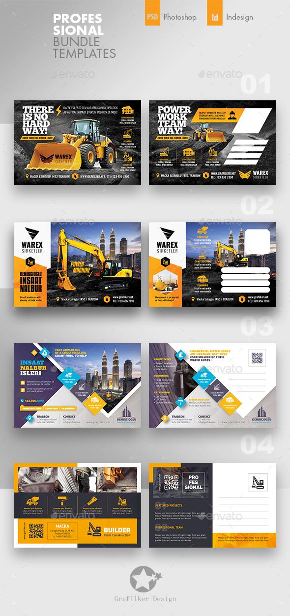 Construction Postcard Bundle Templates - Cards & Invites Print Templates