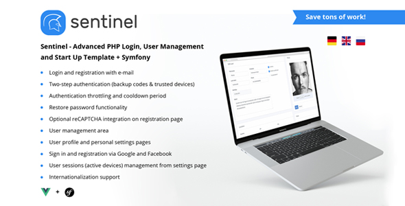 Sentinel - Advanced PHP App Template with Login, Users and Roles + Symfony - CodeCanyon Item for Sale