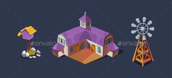 Village Farm House and Windmill - Miscellaneous Vectors