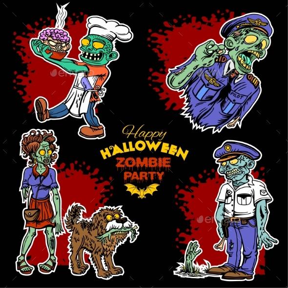 Zombie Comic Set - Cartoon Zombie - Monsters Characters