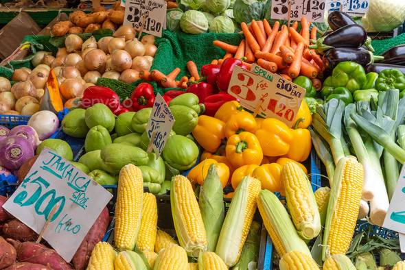 Corn, peppers and other vegetables for sale - Stock Photo - Images