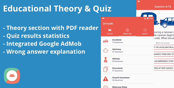 Educational Theory and Quiz Tests Android App - CodeCanyon Item for Sale