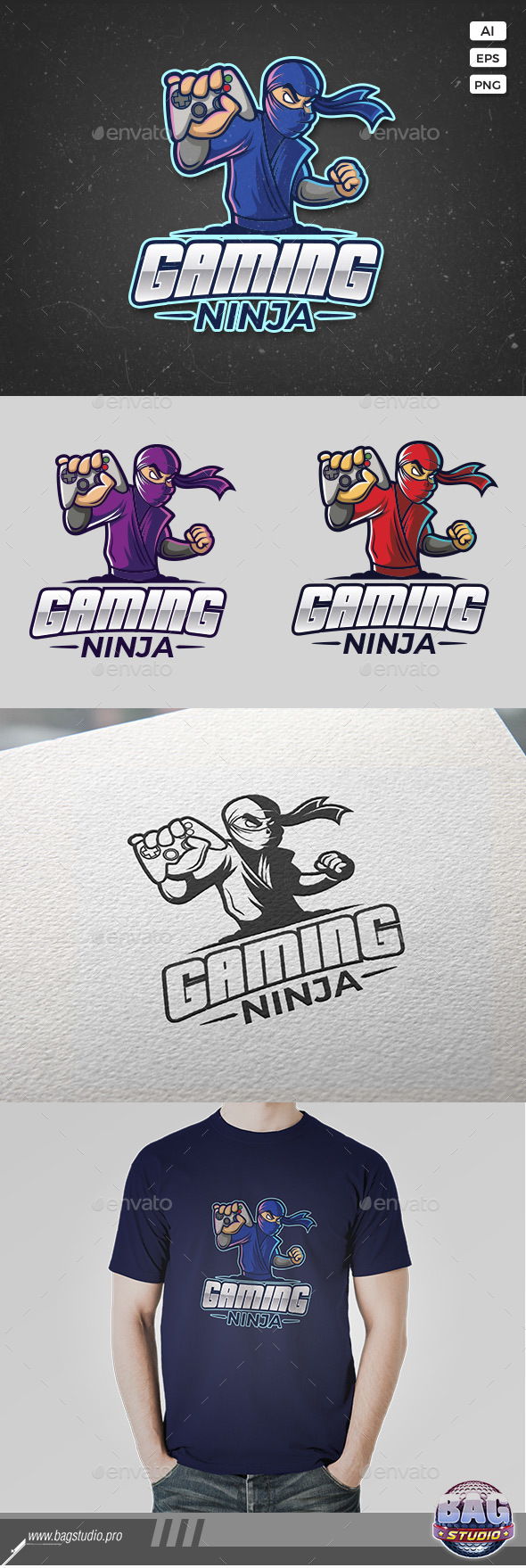 Gaming Ninja Logo Template - Humans Logo Templates