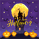 Happy Halloween with Castle and Pumpkins on Purple Background - GraphicRiver Item for Sale